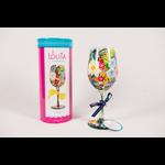 Lady Bird Johnson Wildflowers Painted Wine Glass Boxed