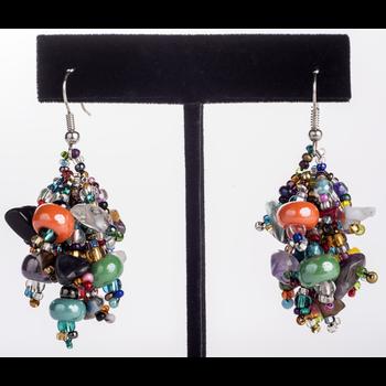 Multicolored Fuzzy Earrings