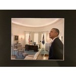Americana President Obama at LBJ Library Oval Office 2014 8X10 Matted Photo