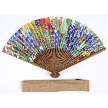 Lady Bird Johnson Wildflower Hand Fan w/Case