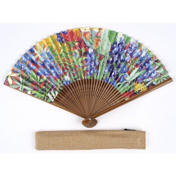 Lady Bird Wildflower Hand Fan w/Case