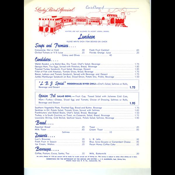 Lady Bird Johnson Original Lady Bird Johnson Special Lunch Menu - 1964
