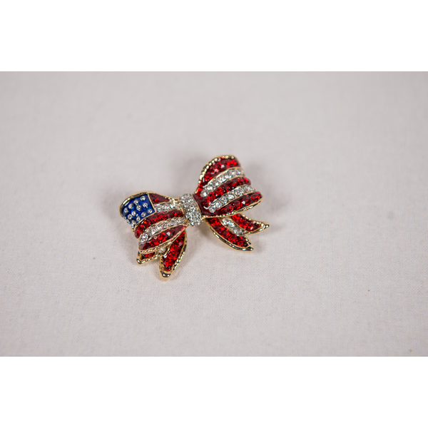 Sale sale-Red White and Blue Flag Bow Brooch