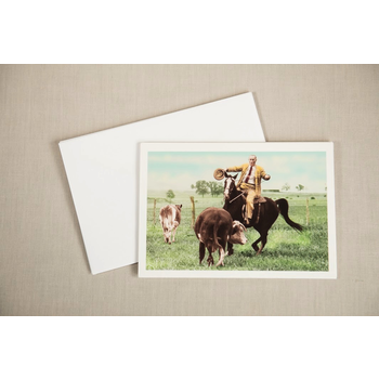 LBJ Cattle Roping 1964 Democratic Victory Notecard