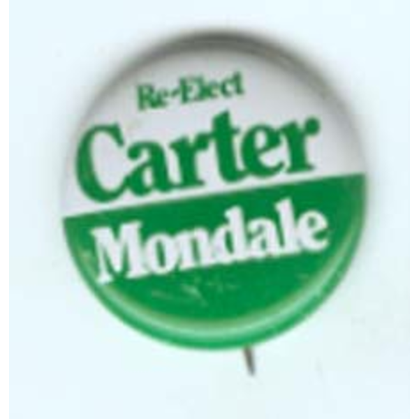 1980 Re-Elect Carter Mondale Campaign Button