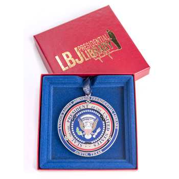 LBJ Presidential Seal Brass Ornament