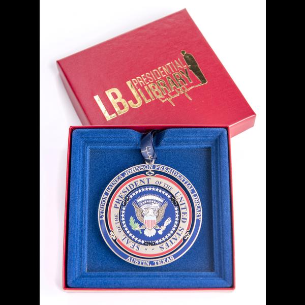 Holiday LBJ Presidential Seal Brass Ornament 2016