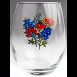 Lady Bird Johnson Wildflower Stemless Wine Glass