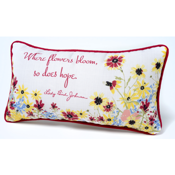 "Lady Bird Where Flowers Bloom Pillow - 17"" X 9 """