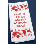 All the Way with LBJ Red Ranch Tea Towel
