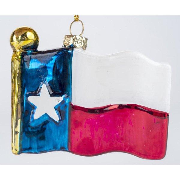 Austin & Texas Texas Flag Shaped Glass Ornament