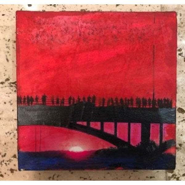 Austin & Texas Bat Bridge mixed media on 6x6 canvas Jean Schuler