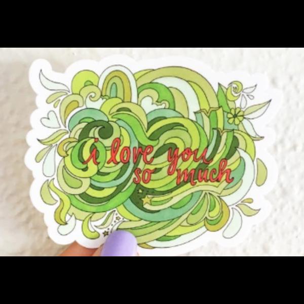 Austin & Texas i love you so much 3x3 sticker by Becca Borrelli