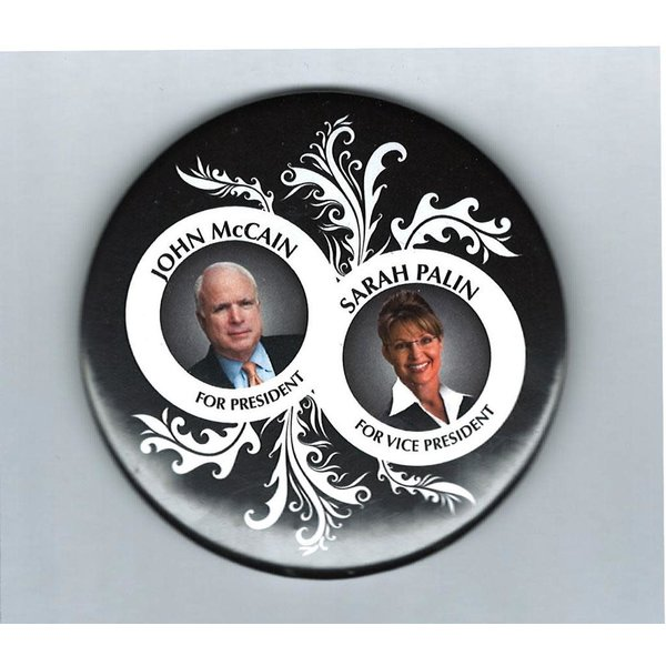 "McCain Palin Black and White Leaf 3"""