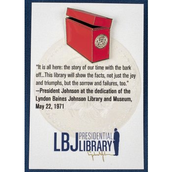 All the Way with LBJ Red Archives Box Lapel Pin