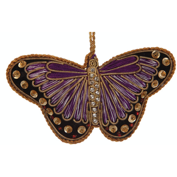 Lady Bird Butterfly Purple Satin Ornament