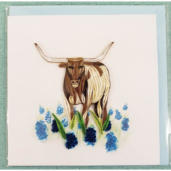 Lady Bird Johnson Longhorn Quilling Card