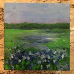Austin & Texas Bluebonnets mixed media on 8x8 canvas by Jean Schuler