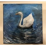 Austin & Texas Swan on Lady Bird Lake 6x6 Canvas by Jean Schuler