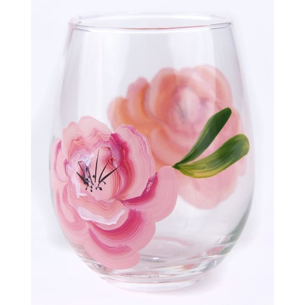 Lady Bird Roses Stemless Wine Glass