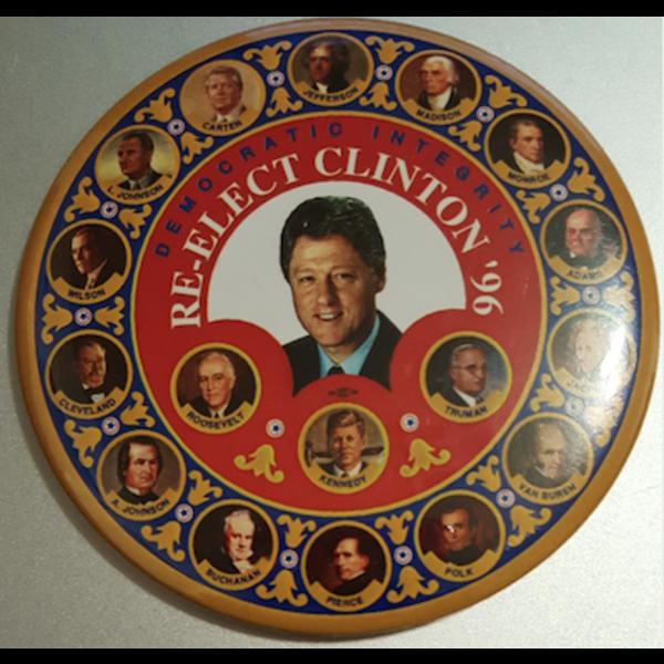 """3.5"""" Democratic Integrity Re-Elect Clinton '96 Campaign Button"""