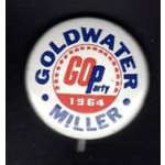 Small Goldwater Miller GOP Party 1964 Campaign Buttons