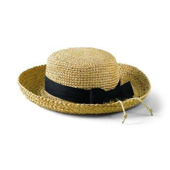 Sale sale-Raffia Hat w/Natural Crochet Crown