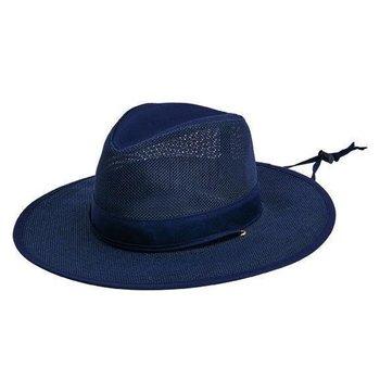 Sale sale-Navy Men's Mesh Safari Hat w/Chin Cord