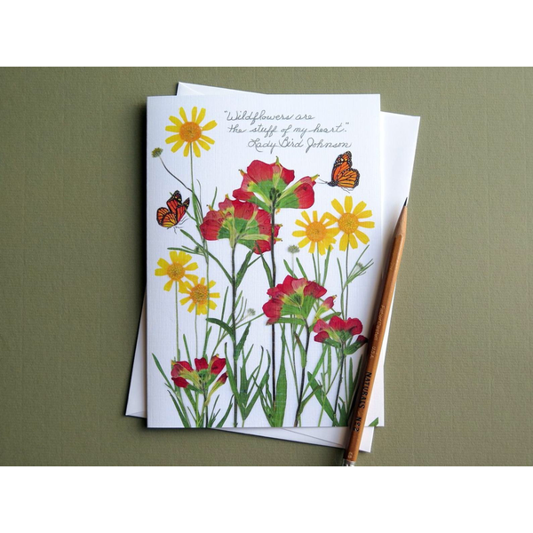 "Lady Bird Johnson ""Stuff of my heart"" Lady Bird Johnson quote wildflower blank card"