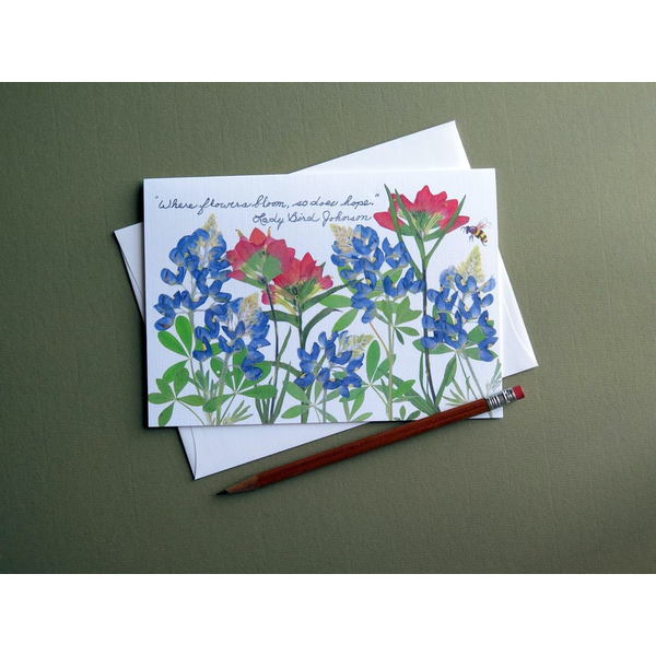 "Lady Bird Johnson ""Where flowers bloom…"" wildflowers blank card"