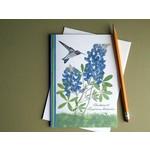 Austin & Texas Bluebonnet with Small Hummingbird Card
