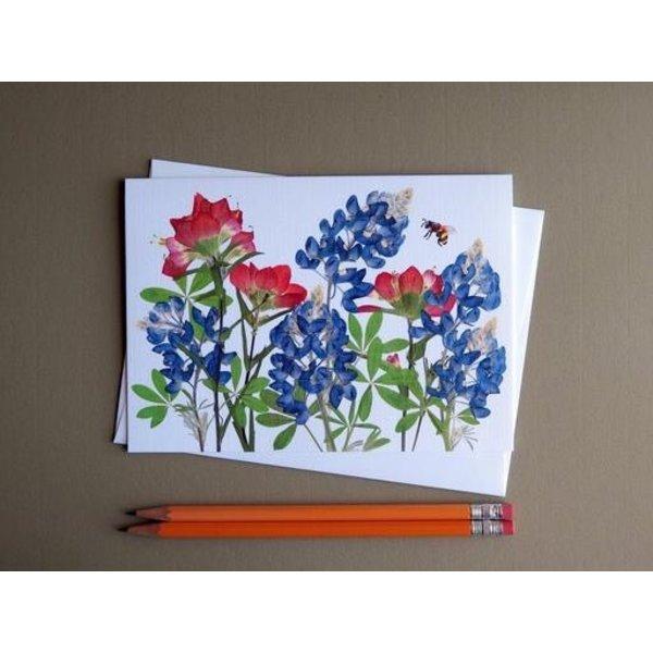 Austin & Texas Bluebonnet/Indian Paintbrush w/Bee Card