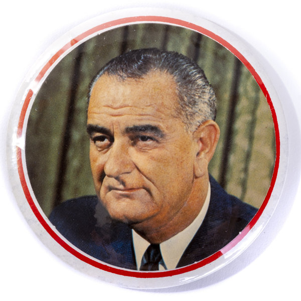 All the Way with LBJ LBJ Unique Inauguration Official Party Button