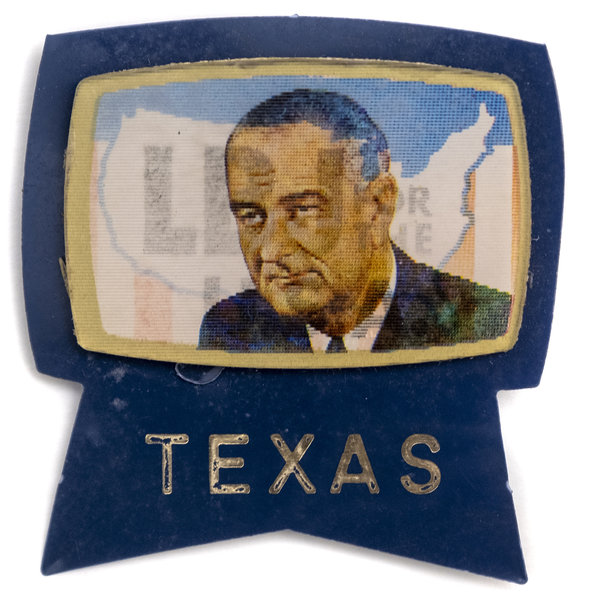 All the Way with LBJ 1964 DNC Texas LBJ for the USA Flasher Campaign Button