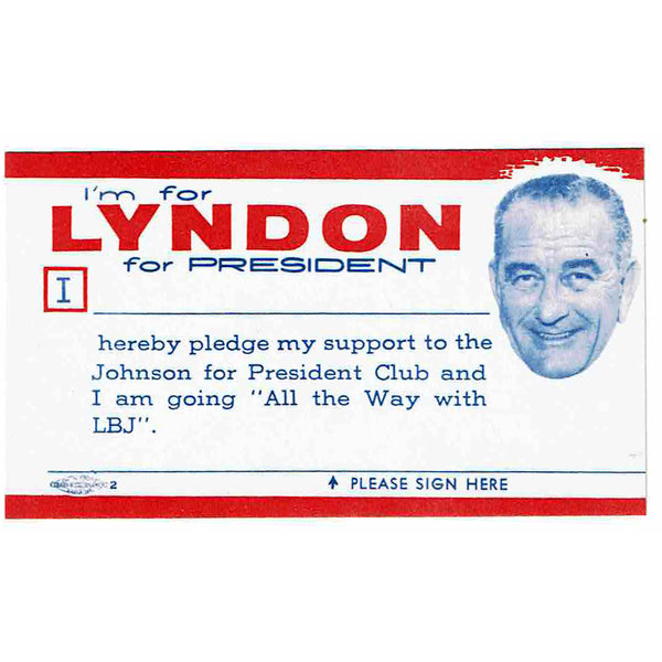 All the Way with LBJ I'm for Lyndon Pledge Card