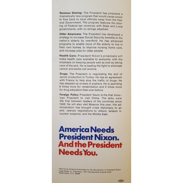 1972 Re-Elect The President Campaign Pamphlet