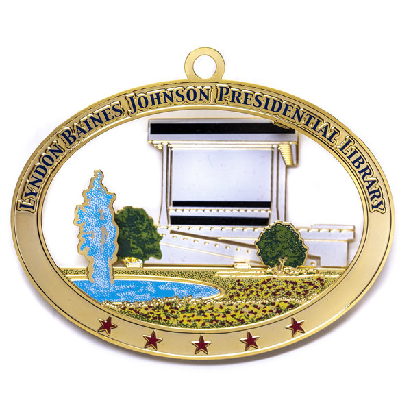 LBJ Library Brass Ornament