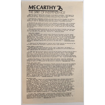 McCarthy '76 The Spirit of Independence Flyer