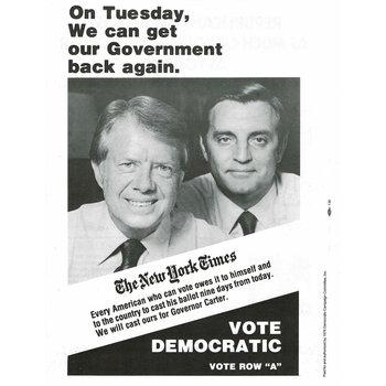 Carter Mondale 1976 New York Times Endorsement Flyer