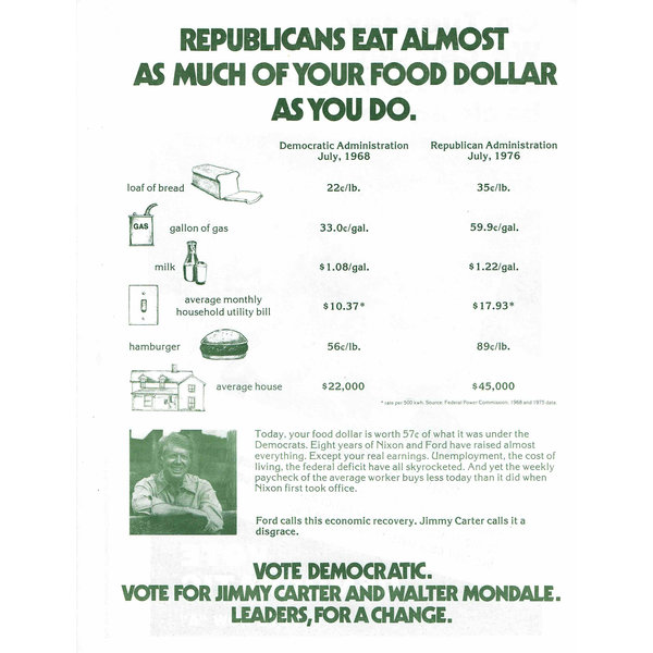 Carter Mondale 1976 New York Times Endorsement Flyer