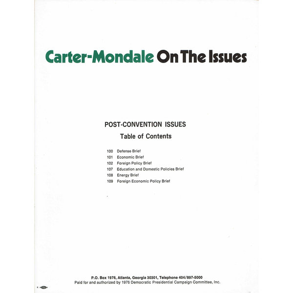 Carter Mondale On The Issues Briefing Book