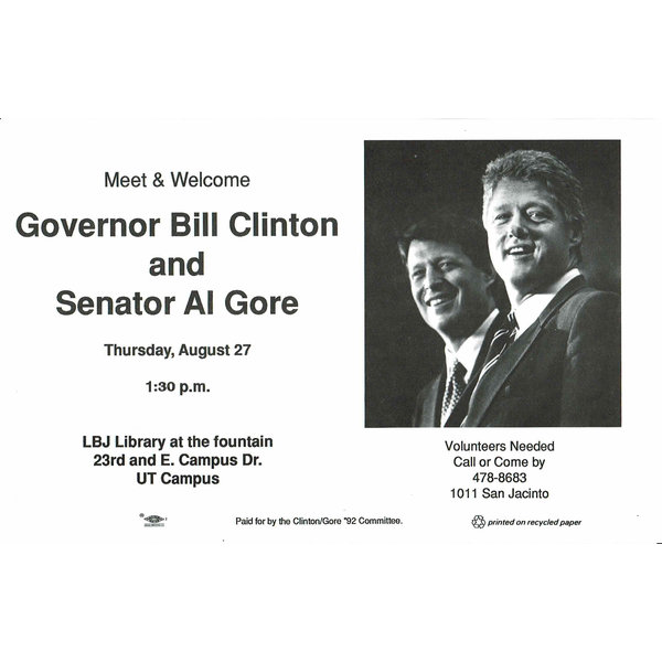 Clinton and Gore UT Campus Flyer