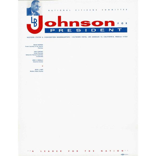 Set of 10 letterhead for Johnson For President 1960 Campaign