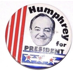 Humphrey for President stars & stripes campaign button