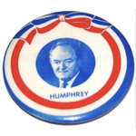 Humphrey portrait with red, white, and blue ribbon campaign button