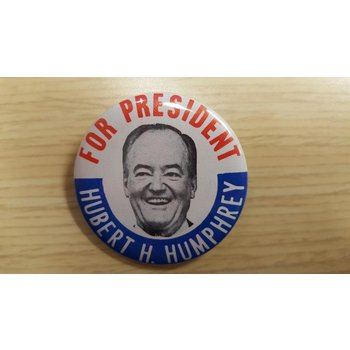 "1968 ""For President Hubert H. Humphrey"" campaign button"
