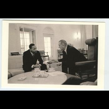Civil Rights LBJ Meets MLK 1963 Postcard