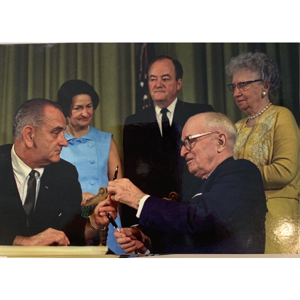 All the Way with LBJ Medicare Bill Signing Postcard Color