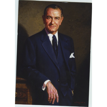 All the Way with LBJ LBJ Portrait by Wills Postcard