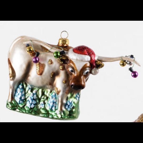 Longhorn Glass Ornament